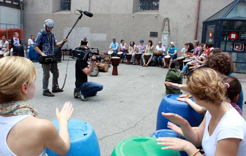 SWR-Kamerateam beim Einspielen. Foto: Gerhard Schindler