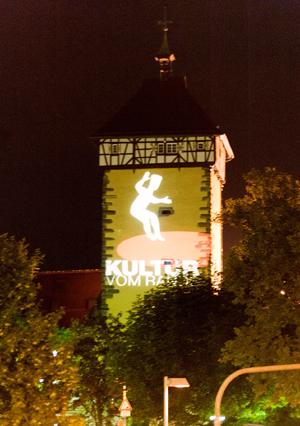 Festival-Logo am Tübinger Tor. Foto: Markus Niethammer